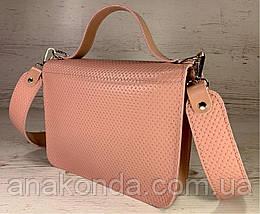573 Натуральная кожа Сумка женская пудра розовая Кожаная сумка с широким ремнем через плечо сумка пудровая, фото 3
