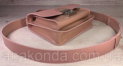 573 Натуральная кожа Сумка женская пудра розовая Кожаная сумка с широким ремнем через плечо сумка пудровая, фото 2