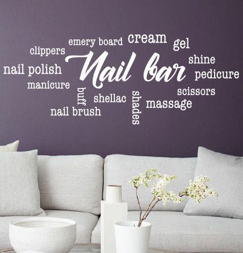 Наклейка на стену Nail bar (облако тегов ногти, маникюр, педикюр)