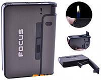 Портсигар Focus с зажигалкой Черный на 10 сигарет