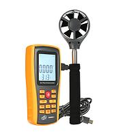 Анемометр USB, 0.3-45м/с, 0-45°C, выносная телескопическая крыльчатка, Benetech GM8902X, фото 1