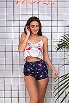 Женская шелковая пижама Фламинго синие шортики ( майка + шорты ) КАЧЕСТВО ТОП!! 100% шёлк Армани