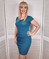 Женское летнее трикотажное платье  в горошек Рамер 42 44 46 48 50 Летнее платье с коротким рукавом бирюза