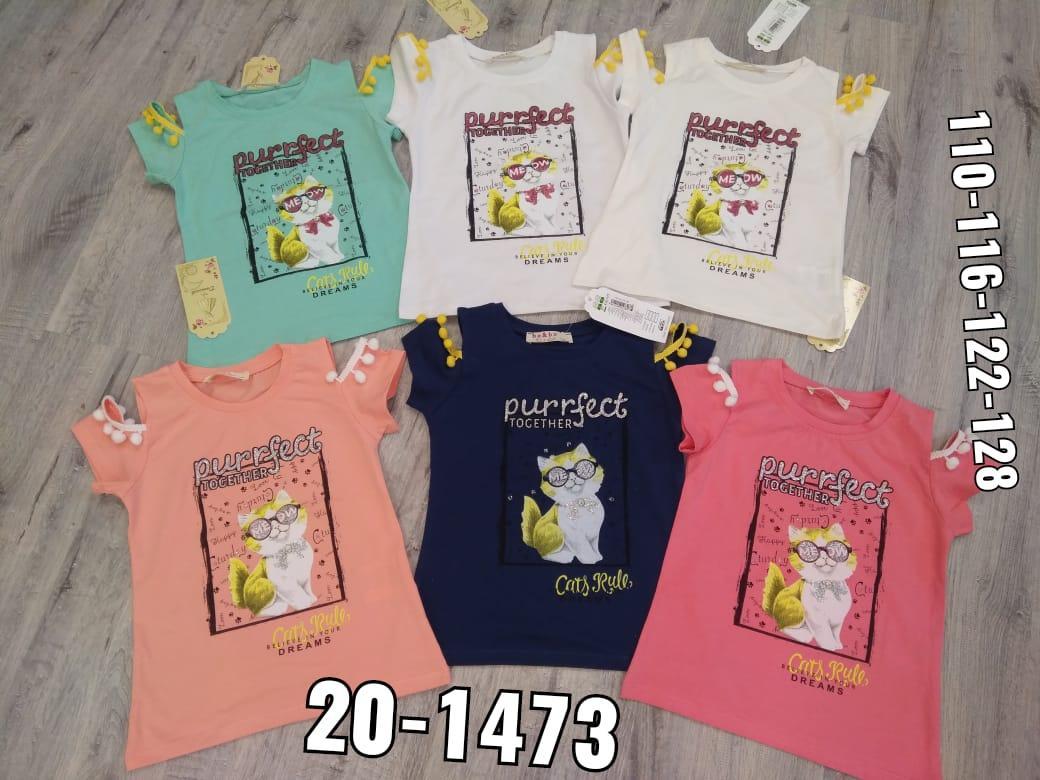 Детская футболка для девочки кот р.5-8 лет