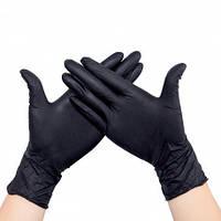 Перчатки нитриловые 100 штук в упаковке, размер M (черные)