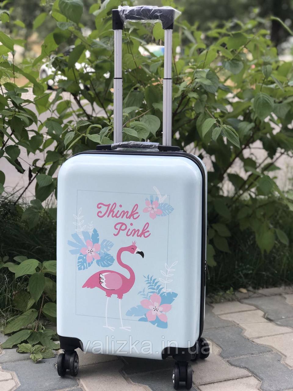 Пластиковый чемодан с фламинго / Валіза пластикова з фламінго