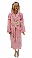 Nusa халат махровый с капюшоном из бамбукового волокна NS-8655 пудра