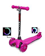 Детский трехколесный самокат (светящиеся колеса) Scooter Mini (Розовый) scn