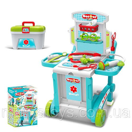 Игровой набор Доктора 008-929 Тележка на колесах, 59, 7-47-42, 5 см, чемодан, инструменты, 3 в 1
