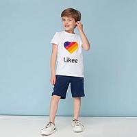 Детская футболка белая накат сердце Likee хлопок размер: 1 (134-140), 2(140-146), 3 (152-158)
