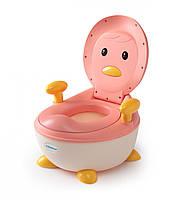 Детский горшок Пингвин с полиуретановым кольцом, розовый - Babyhood BH-113PP
