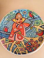 """Авторська тарілка з глини ручної роботи """"Дитя"""" художній розпис, фото 1"""