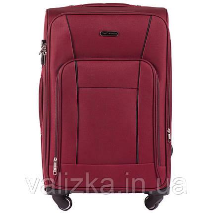 Средний текстильный чемодан на 4-х колесах с расширителем бордовый Польша, фото 2