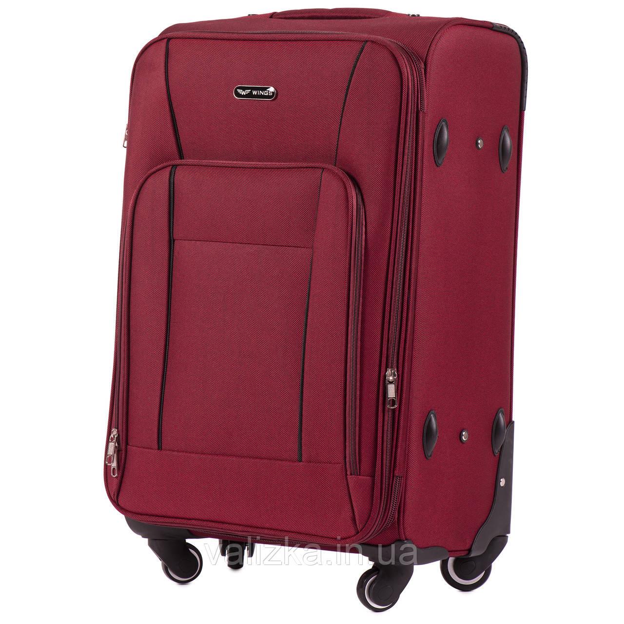 Средний текстильный чемодан на 4-х колесах с расширителем бордовый Польша