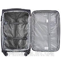 Средний текстильный чемодан на 4-х колесах с расширителем бордовый Польша, фото 3