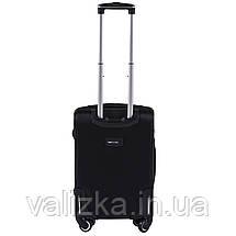 Маленький текстильный чемодан на 4-х колесах для ручной клади с расширителем черный Польша, фото 2