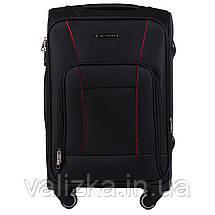 Маленький текстильный чемодан на 4-х колесах для ручной клади с расширителем черный Польша, фото 3