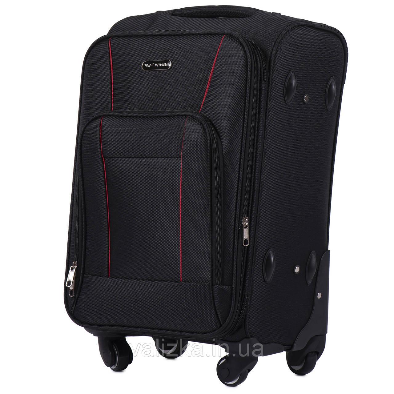 Маленький текстильный чемодан на 4-х колесах для ручной клади с расширителем черный Польша