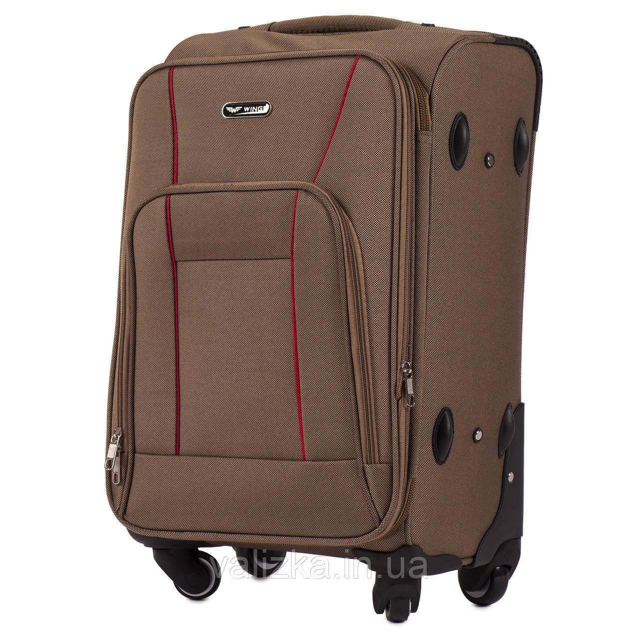 Маленький текстильний валізу на 4-х колесах для ручної поклажі з розширювачем коричневий Польща