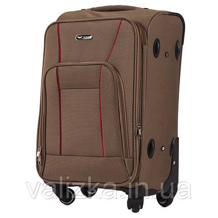 Маленький текстильний валізу на 4-х колесах для ручної поклажі з розширювачем коричневий Польща, фото 2