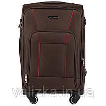Маленький текстильный чемодан на 4-х колесах для ручной клади с расширителем кофейный Польша, фото 3