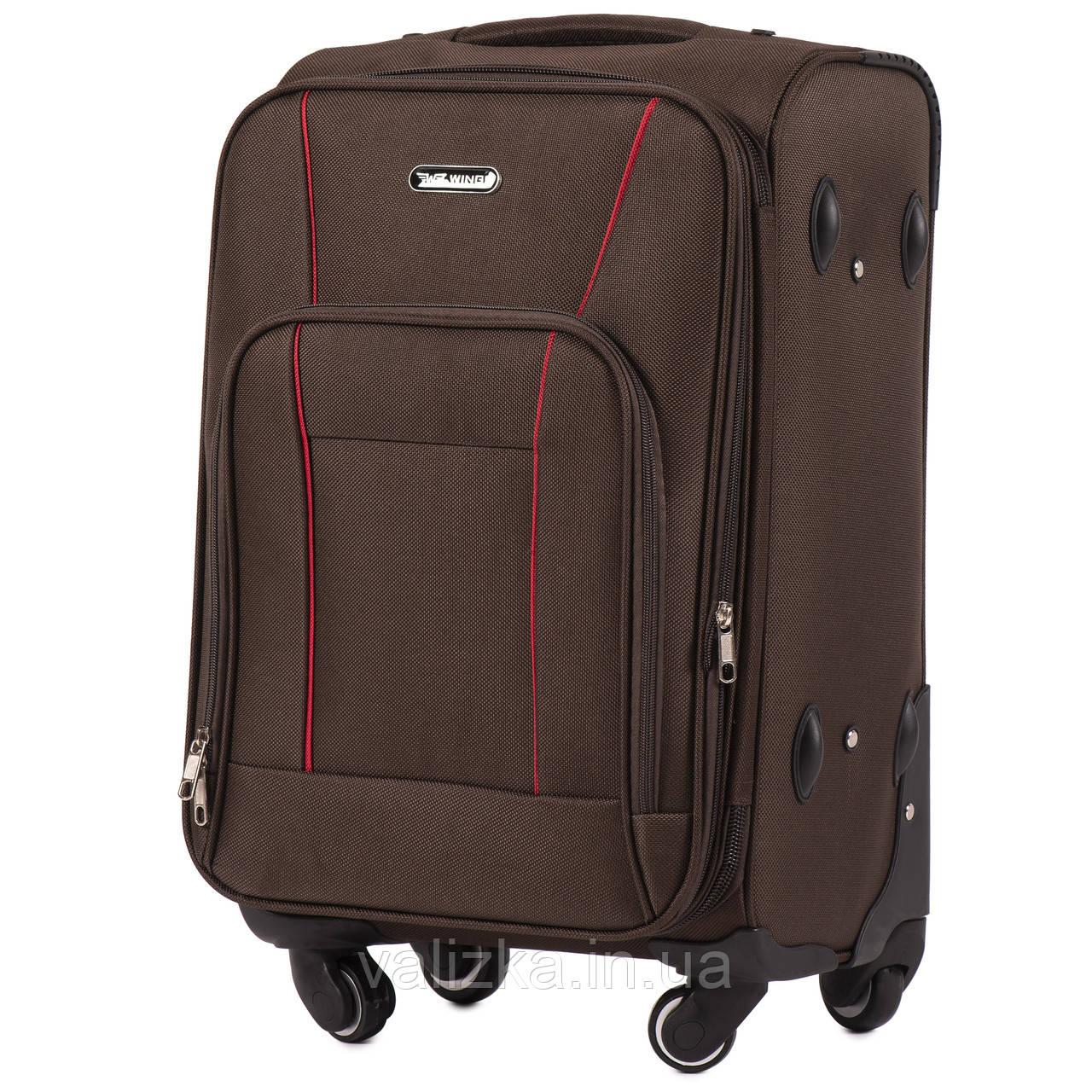 Маленький текстильный чемодан на 4-х колесах для ручной клади с расширителем кофейный Польша