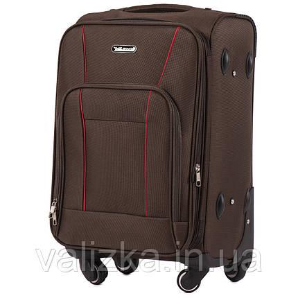 Маленький текстильный чемодан на 4-х колесах для ручной клади с расширителем кофейный Польша, фото 2