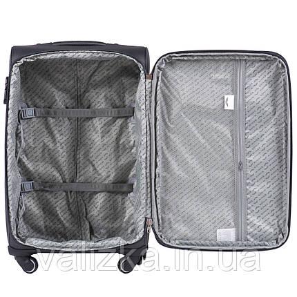 Маленький текстильный чемодан на 4-х колесах для ручной клади с расширителем зеленый Польша, фото 2