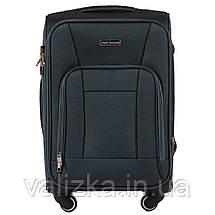 Маленький текстильный чемодан на 4-х колесах для ручной клади с расширителем зеленый Польша, фото 3