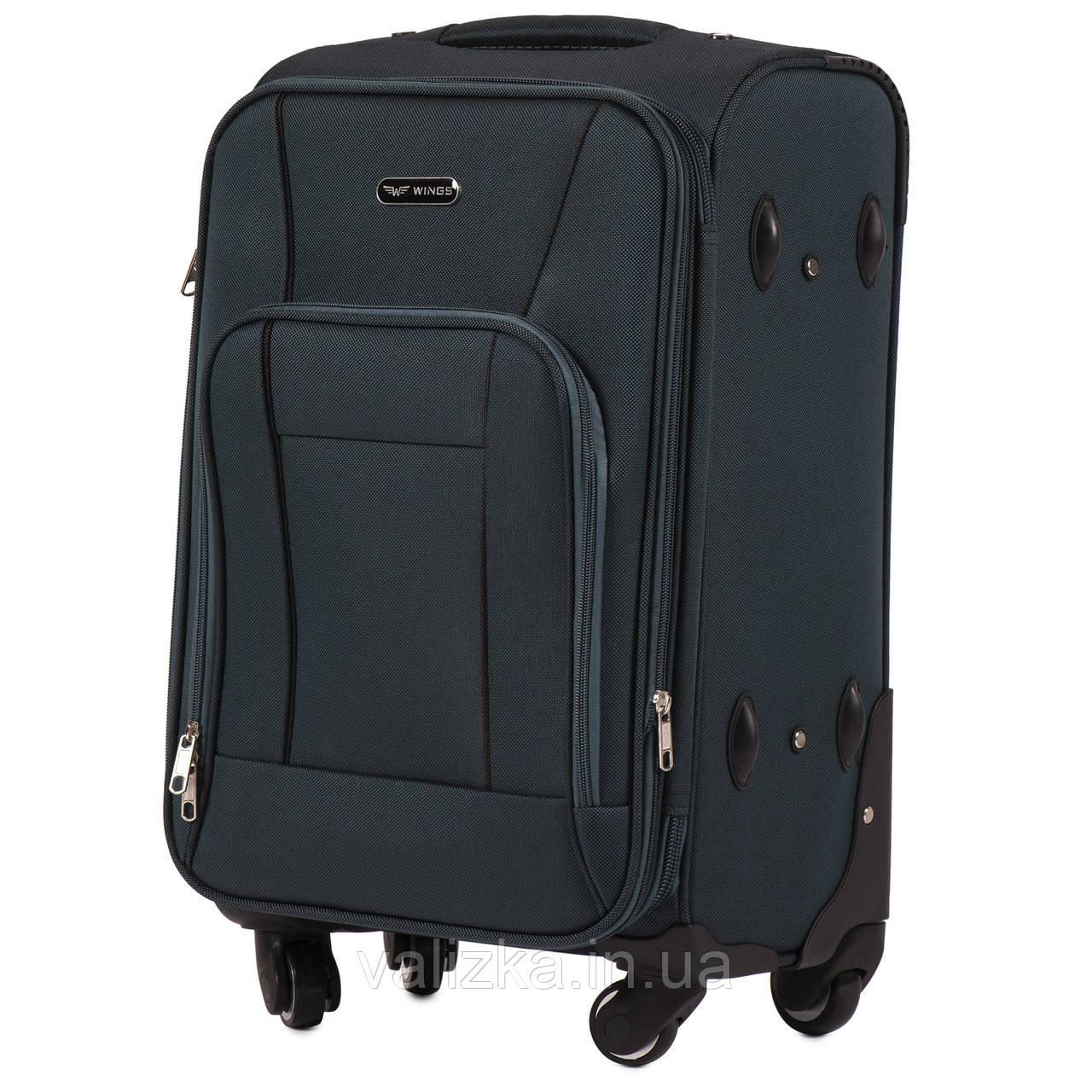 Маленький текстильный чемодан на 4-х колесах для ручной клади с расширителем зеленый Польша