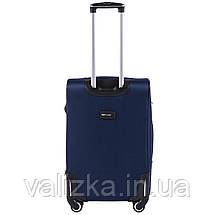 Средний текстильный чемодан на 4-х колесах с расширителем синий  Польша, фото 3