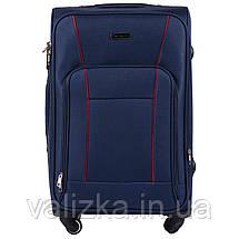 Средний текстильный чемодан на 4-х колесах с расширителем синий  Польша, фото 2