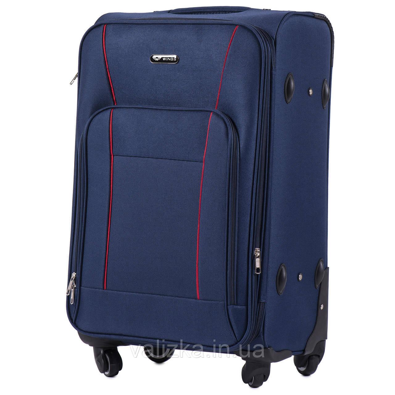 Средний текстильный чемодан на 4-х колесах с расширителем синий  Польша