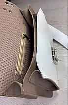 572-к Сумка женская натуральная кожа темно-бежевая кросс-боди с широким ремнем Бежевая сумка пудра через плечо, фото 3