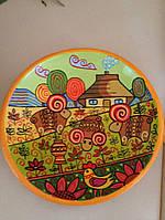 """Авторська тарілка ручної роботи """"Українське село"""" художній розпис, фото 1"""