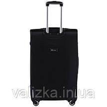 Комплект текстильных чемоданов на 4-х колесах с расширителем черного цвета, фото 3