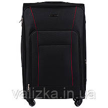 Комплект текстильных чемоданов на 4-х колесах с расширителем черного цвета, фото 2