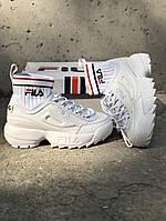 Кроссовки высокого  качества Fila Disruptor 2 ECO Sockfit all white (Белый)
