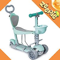 Самокат-беговел Scooter Smart 5 в 1 Мятный Детский с Родительской Ручкой и Подножкой От 1 до 8 Лет