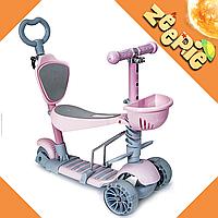 Самокат-беговел Scooter Smart 5 в 1 Постельно-Розовый Детский с Родительской Ручкой и Подножкой От 1 до 8 Лет