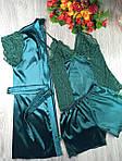 Набор для дома и сна Differtnt Slips тройка халат+майка+шорты Free (42-46) зеленый(0646) Уценка!