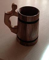 Бокал пивний деревяний з горіха і дуба