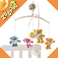 Подвеска Мобиль для малыша с медвежатами (на кроватку) Детская Карусель Механическая