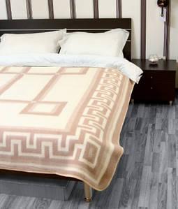 Шерстяное одеяло жаккардовое Vladi 140х205 полуторное бел-беж Греция