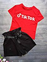 """Подростковый стильный костюм для девочки """"Tik Tok"""" размер 8-12 лет, красного цвета"""