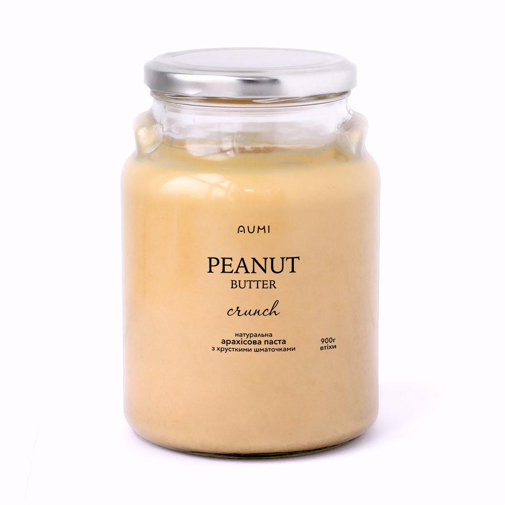Арахисовая паста Кранч, 900г СТЕКЛО, с кусочками арахиса, 100% натуральная, без добавок