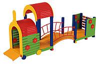 Дитячий спортивний ігровий водостійкий комплекс для ігор на відкритому повітрі паровозик Малюк 490х120х120 см