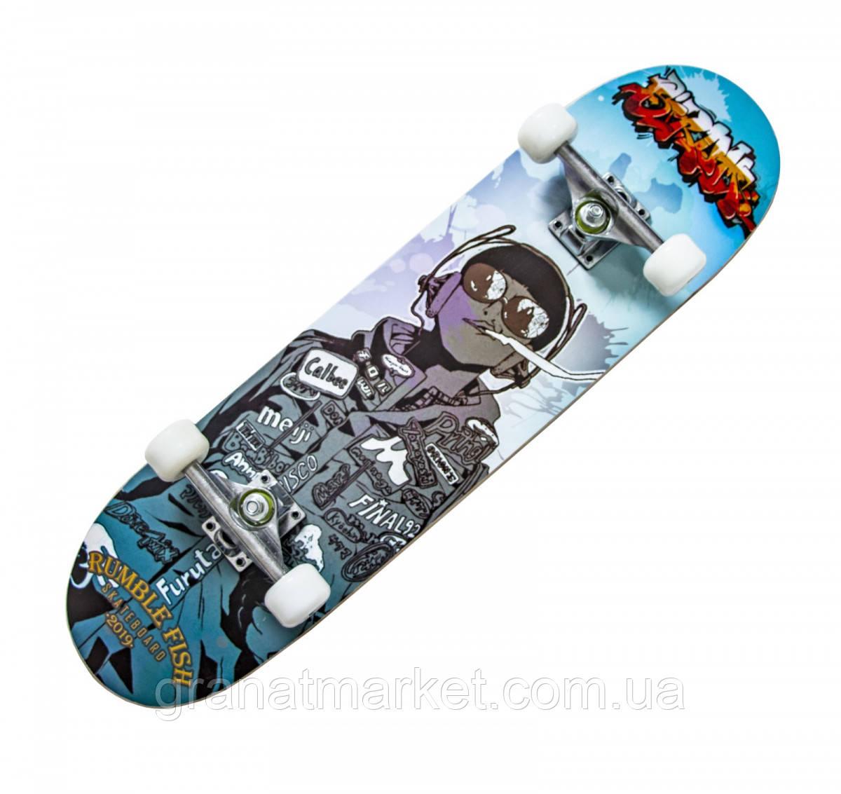 """Скейт для подростка для подростка с рисунком \""""HANDS FREE\"""""""