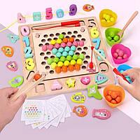 Развивающия игра 5 в 1, мозаика, шнуровка, сортер , рамка , рыбалка.