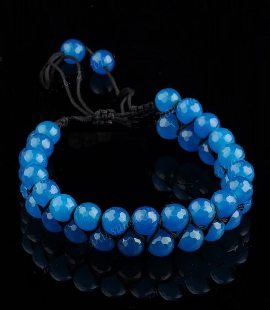 Браслет Шамбала Агат 18 см голубой в два ряда